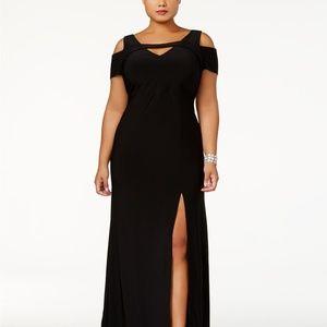 Nightway Cold-Shoulder Keyhole Gown Black